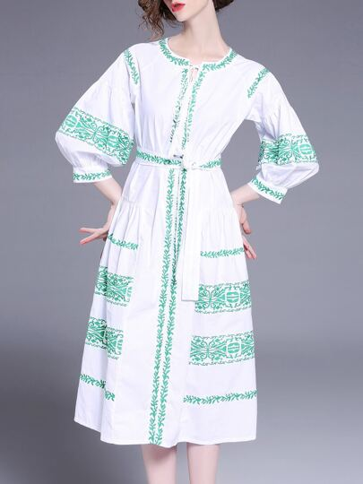 Tie Neck Tribal Embroidered Dress