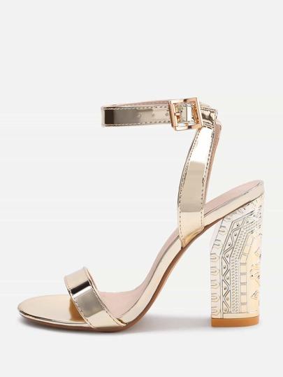 Sandales métallique à talons hauts en deux parties