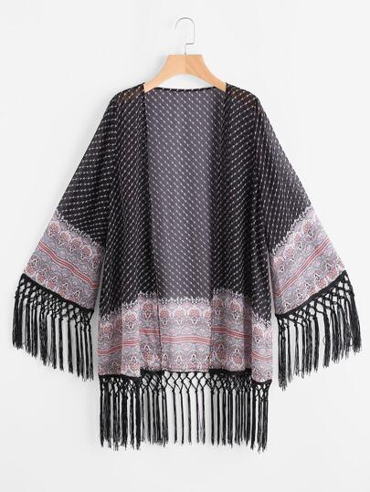 Black Floral Striped Knotted Fringe Trim Sheer Kimono