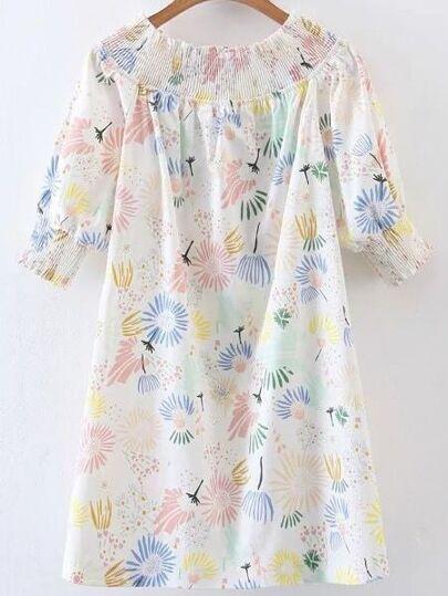 Boat Neckline Shirred Cuff Lace Back Dress