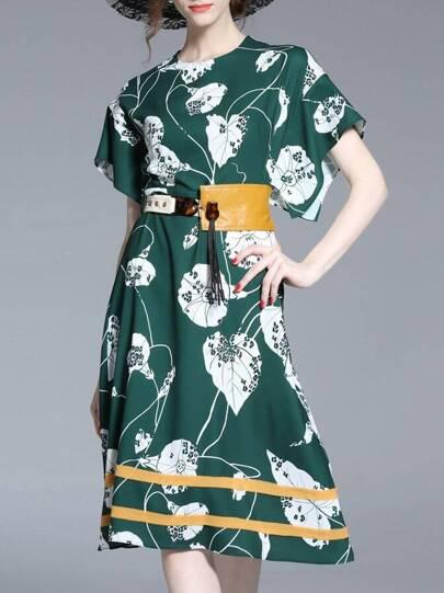 Batwing Sleeve Print A-Line Dress