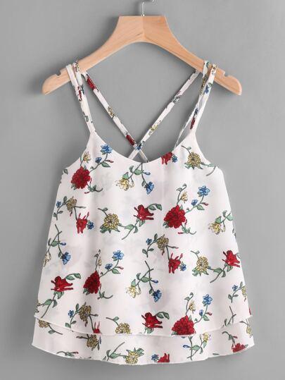 Floral Print Crisscross Layered Chiffon Cami Top
