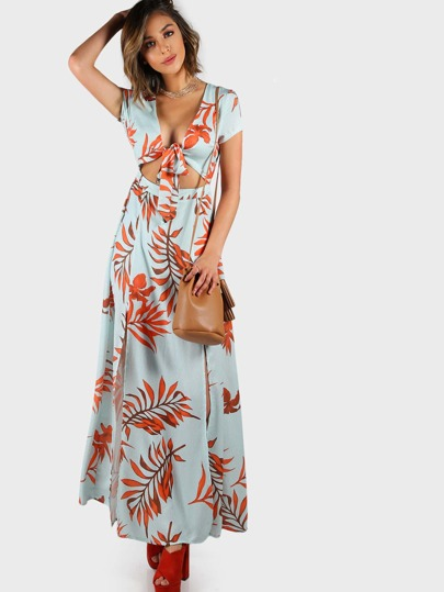 Backless Print Wrap Maxi Dress AQUA