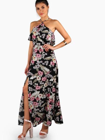 Kleid mit Neckholder und Pflanzenmuster
