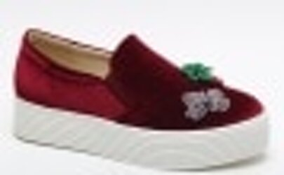Pineapple And Butterfly Pattern Flatform Velvet Shoes