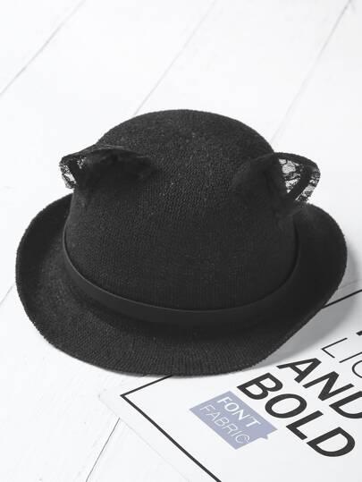 Contrast Lace Cat Ear Fedora Hat