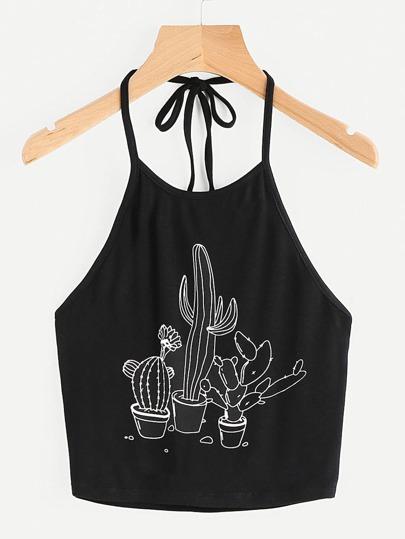 Top allacciato al collo con stampa cactus