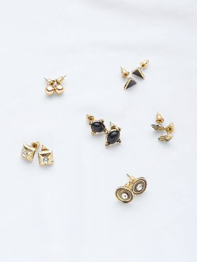 Geometric Stud Earrings Set 6PCS