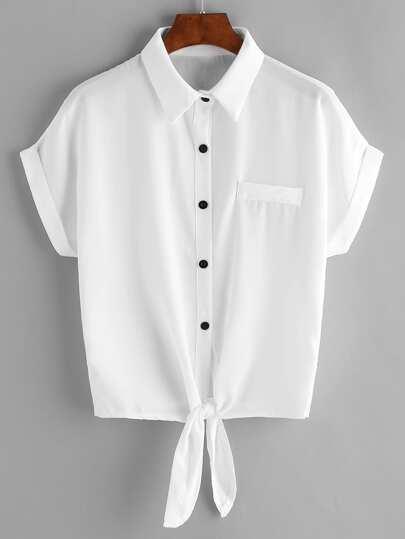 الأبيض التعادل الجبهة مكبل الشيفون بلوزة مع جيب الصدر
