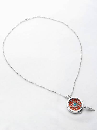 Collier pendentif rond en forme de feuille