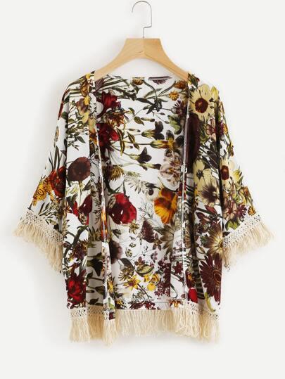 Kimono bicolore découpé imprimé fleuri avec des franges en dentelle