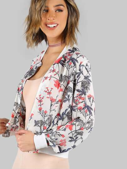 Lightweight Floral Print Bomber Jacket OFF WHITE