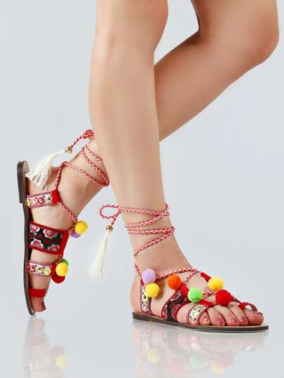 Vibrant Lace Up Pom Pom Sandals RED MULTI