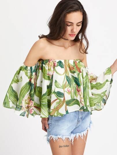 Tropical Print Off Shoulder Top