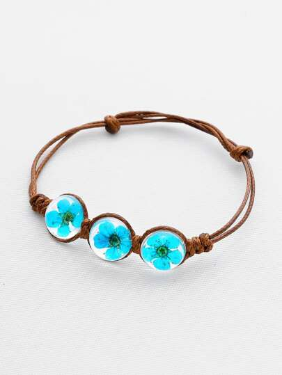 Contrast Glass Flower Knot Bracelet
