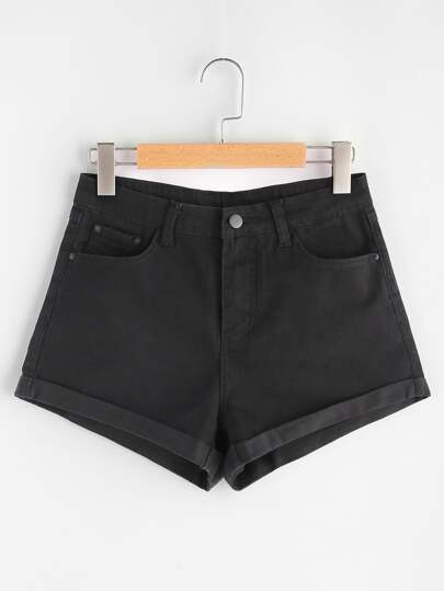 5 Pocket Cuffed Denim Shorts