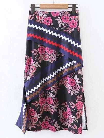 Falda larga con abertura lateral