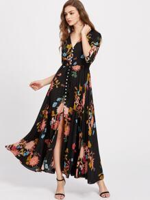 Smocked Waist Tassel Tie Button Through Floral Dress