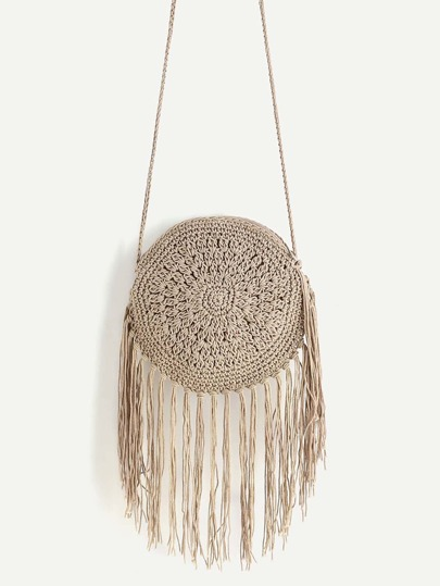 Fringe Round Shaped Straw Crossbody Bag