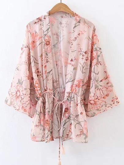 Kimono Sleeve Drawstring Waist Top With Fringe