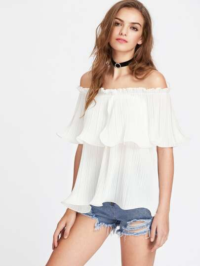 Lettuce Hem Layered Pleated Bardot Top