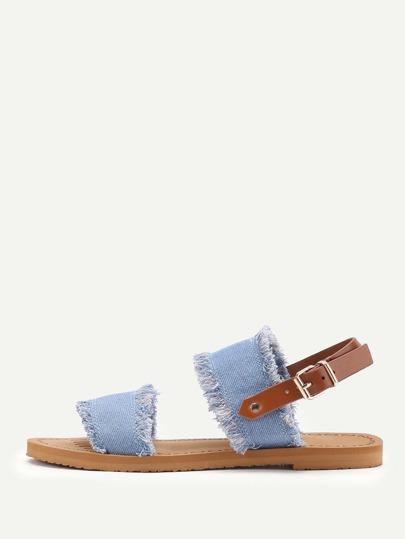 Jeans Flasche Sandalen mit ausgefranstem Saum