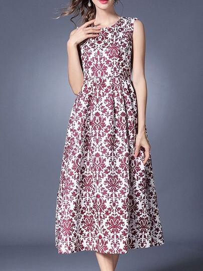 Vintage Print Long Dress