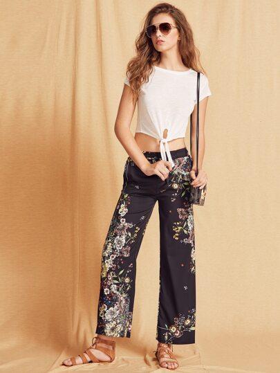 Black Floral Print Elastic Waist Wide Leg Pants