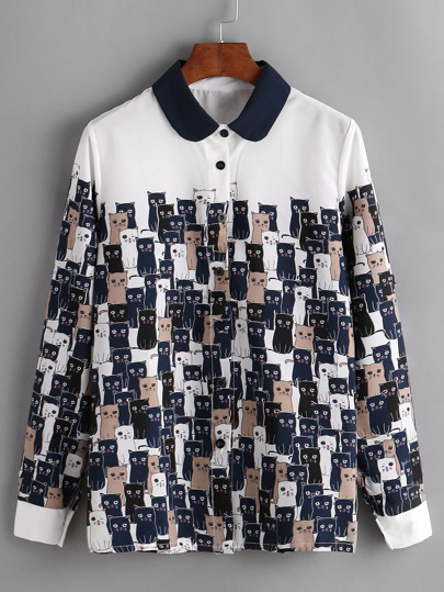 Cats Print Contrast Collar Shirt