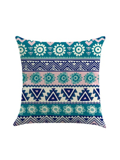 Flower & Geometric Print Pillowcase Cover