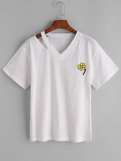 Cut Out V Neckline Sunflower Embroidered Tee