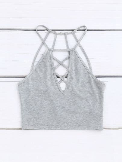 Caged Back Crisscross Plunging Halter Top