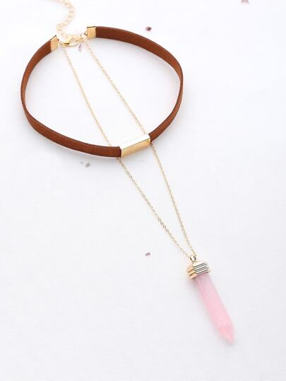Hexagonal Column Pendant With Choker