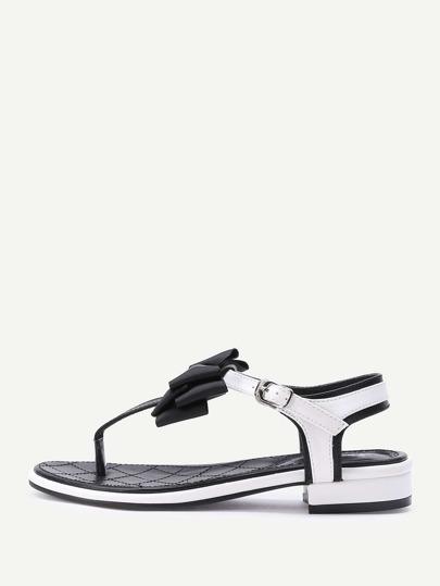 Bow Tie Design Toe Post Low Heel Sandals