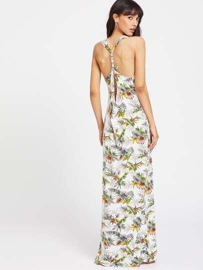 Split Twist Racerback Foliage Dress