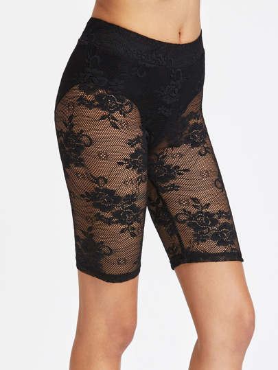 Knicker Insert Floral Lace Bermuda Leggings