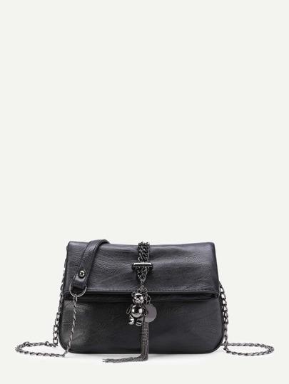 Bear And Tassel Detail PU Foldover Bag