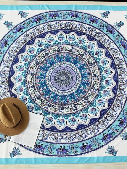 Manta playera estilo bohemia con estampado de dibujo
