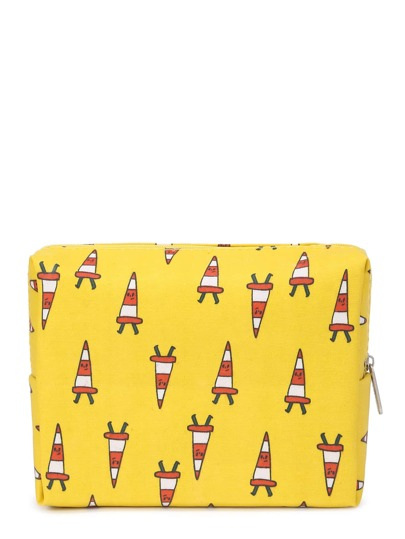 Graphic Print Zipper Up Cosmetic Bag