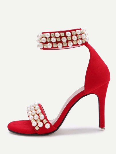 Faux Pearl And Rhinestone Decorated High Heels