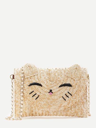Cat Shaped Straw Crossbody Bag