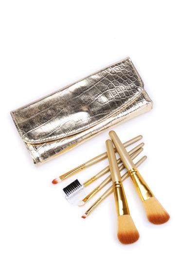 Pinceau de maquillage ensemble avec un sac de motif crocodile