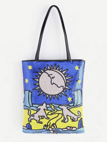 Moon And Star Pattern Tote Bag With Sequin