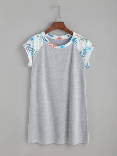 Camiseta contraste de manga raglán