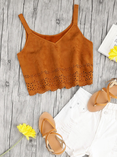 Scalloped Laser Cut Hem Suede Cami Top