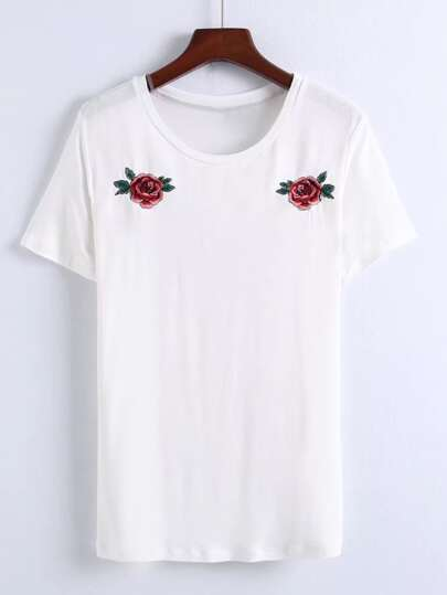 Flower Embroidery Tee Dress