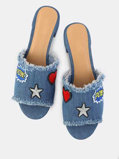 Embroidered Denim Mules BLUE