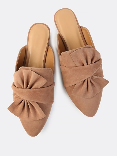 Point Toe Bow Slip On Flats CAMEL