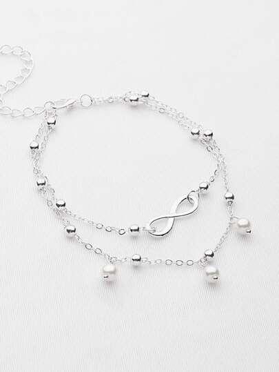 Bracelet / cheville chaîne de perles Fausses