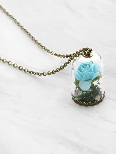 Glass Flower Pendant Luminous Chain Necklace